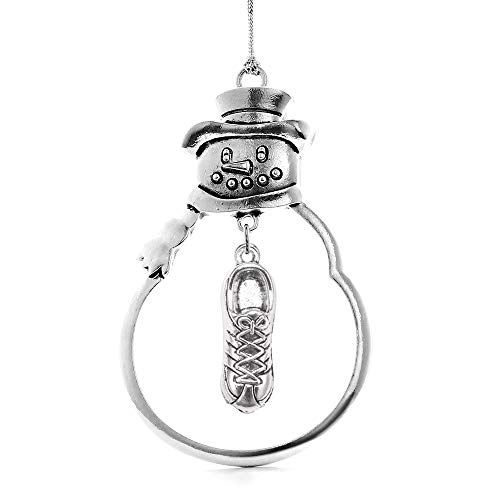Inspired Silver - Sneaker Charm Ornament - Silver Customized Charm Snowman Ornament with Cubic Zirconia Jewelry