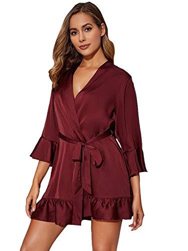 Floerns Women's Ruffle Hem Belted Satin Kimono Bridesmaids Robe Burgundy M