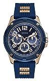 Reloj Guess para Hombre - GW0051G3 - Azul Correa de Silicona con Textura e Inserciones Rosegold