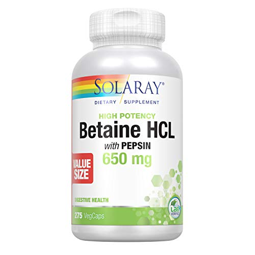 Solaray High Potency Betaine HCL with Pepsin 650 mg | Hydrochloric Acid Formula for Healthy Digestion Support | Lab Verified (275 CT)