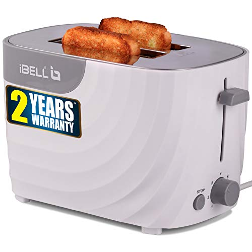 iBELL WG70 700-Watt Premium Pop-up Bread Toaster with Crumb Tray, Mid Cycle Heating Element (White)