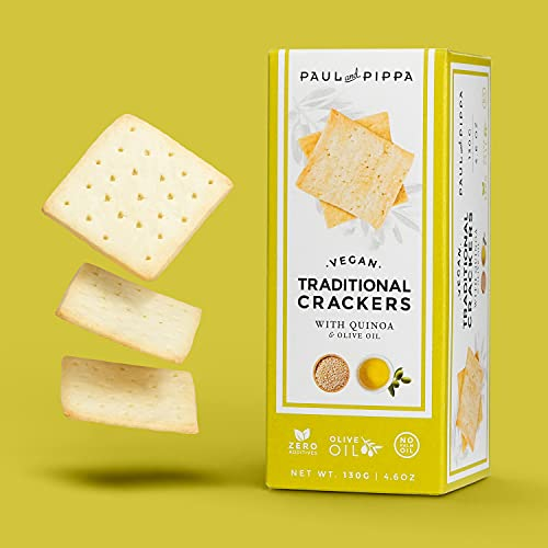 Vegan Artisan Plain Crackers with Quinoa and EVOO - 4.6 oz / 130 G - NO Palm Oil No Sugar Added Vegetarian Healthy Snack