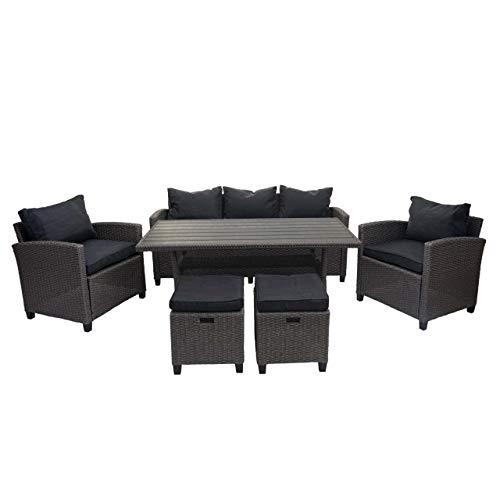 Mendler Juego de muebles de polirratán HWC-E95, conjunto de muebles de jardín y salón de jardín con cojines de color gris antracita