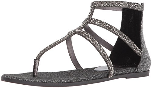 Jessica Simpson Women's Cammie Flat Sandal, Pewter Multi, 9.5 Medium US