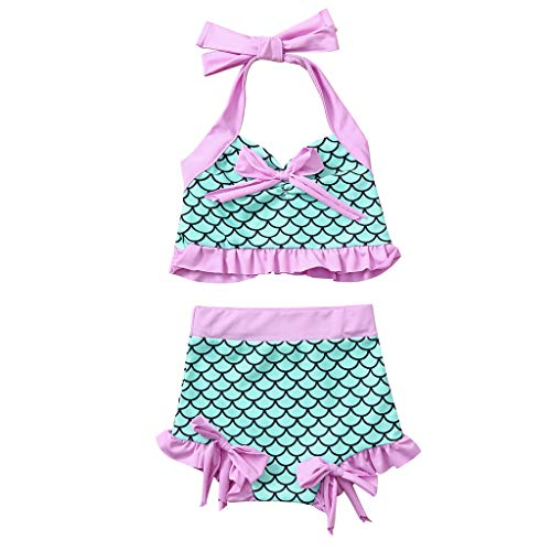 YWLINK Conjuntos NiñA,BañAdor con Estampado De Peces De Moda De Verano Buena Personalidad Piscina, Playa Fiesta Conjunto De Bikini(Verde,2-3 años/90)