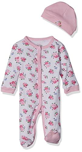 Luvable Friends baby girls Cotton Preemie and Play Cap Sleepers, Floral, Preemie US