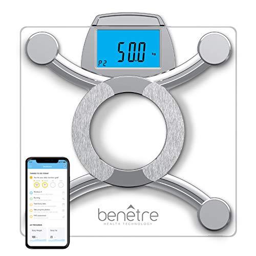 Benetre Báscula Inteligente, Bluetooth, con 8 Indicadores de Medición, Compatible con Aplicaciones iOS y Android.