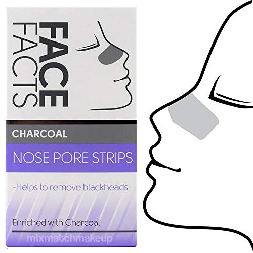 SKIN ACADEMY DEEP CLEANSING CHARCOAL NOSE PORE STRIPS BLACKHEAD REMOVER, PACK OF 6 NOSE STRIPS - CRUELTY FREE
