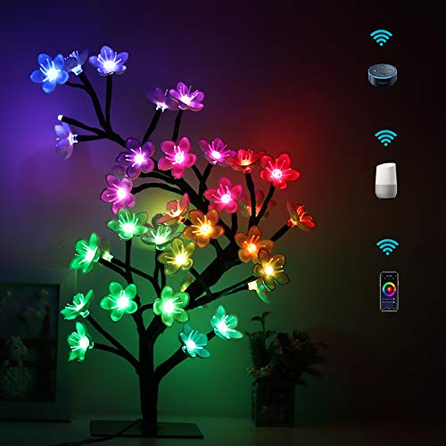 Smart Table Lamp Color Changing Decorative Night Light|Cherry Blossom Tree Light|UL Adaptor|LED Artificial Bonsai Accent Light|Home Bedroom Beside Lamp Work with Echo Alexa and Google Assistant(SCBL)