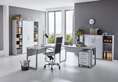 BMG-Moebel.de Büromöbel komplett Set Arbeitszimmer Office Edition in Lichtgrau/Weiß Hochglanz (Set 5)