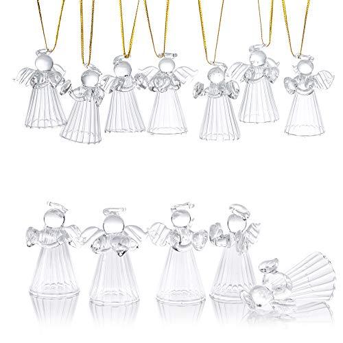 12 Piezas Glass Angel Ornament, Diseño de Pie con Fondo Hueco, Decoración Festiva Tradicional Pequeña de Vacaciones de Invierno