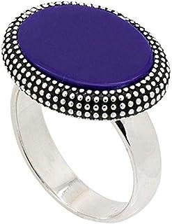 خاتم فضة استرليني ملكي مع حجر أزرق للرجال من عتيق