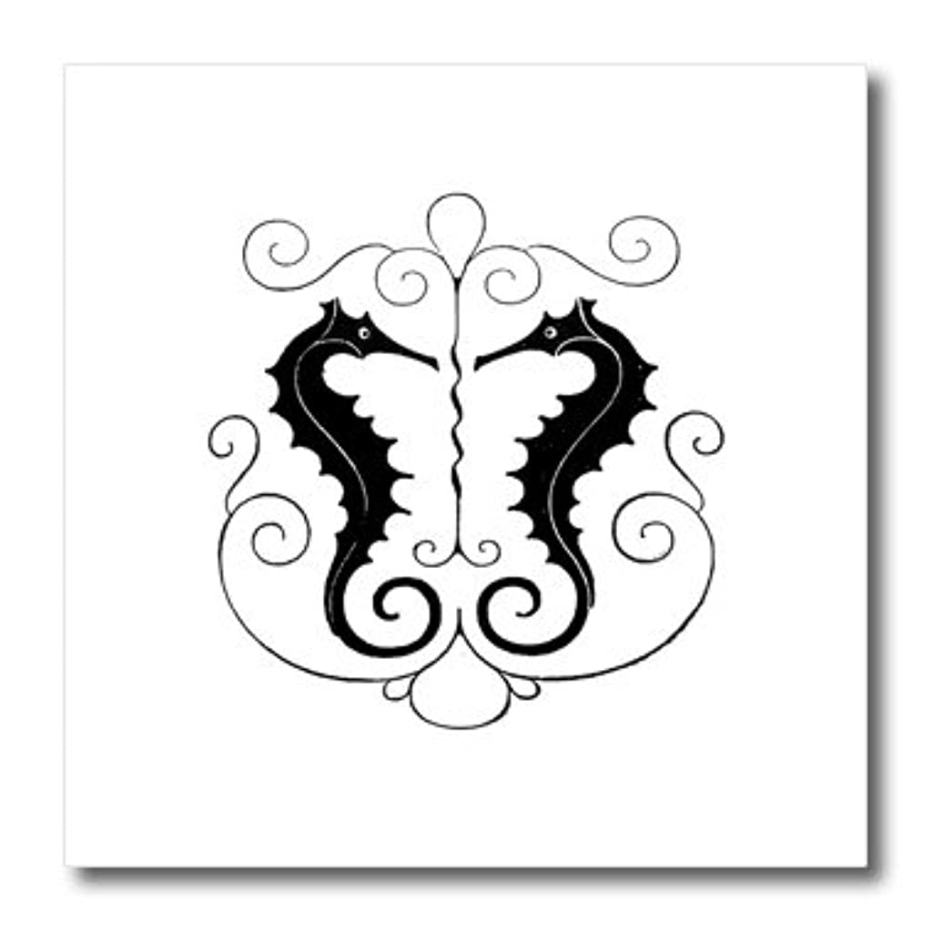 3dRose ht_179530_1 Image of Seahorses in Silhouette with Scroll Work-Iron on Heat Transfer Paper for White Material, 8 by 8-Inch