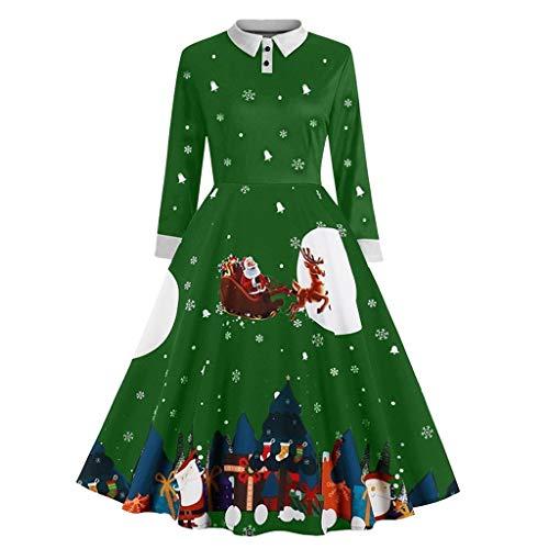 TIFIY Damen Weihnachtskleid Frauen Weihnachten Schneeflocke Print Revers Botton Langarm Vintage Hepburn Kleid Party Kleid Stylisch Jeden Tag Neuheit Interessant Kleid Grün S