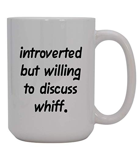 Introverted But Willing To Discuss Whiff - 15oz Ceramic White Coffee Mug Cup, Light Green