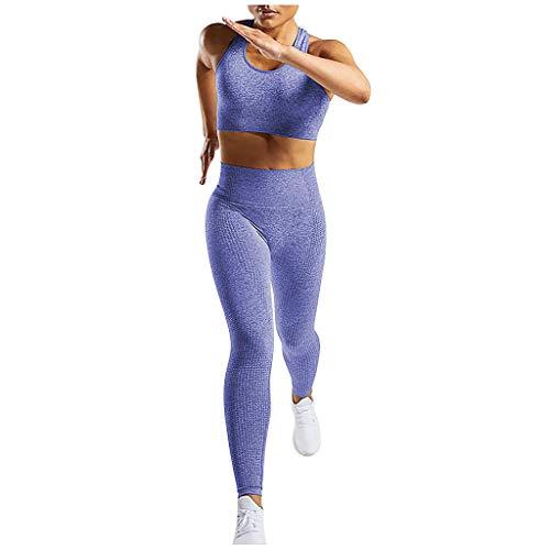 Longra 2Pcs Aptitude Vêtements pour Femmes sans Couture sans Manches Svelte en Forme Hauts Solide Couleur Svelte en Forme Leggings Pantalon Aptitude Un Pantalon