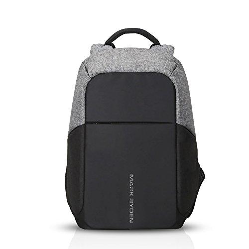 FANDARE 15.6 Pollici Antifurto Zaino Scuola con Porta USB Unisex Universitaria Viaggio Daypack Uomo Borsa Polyester Grigio BB