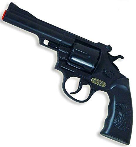 KarnevalsTeufel Revolver GSG9 – Agent Polizei Sheriff Cowboy Gangster Spielzeugrevolver 12 Schuss Wicke (GSG)