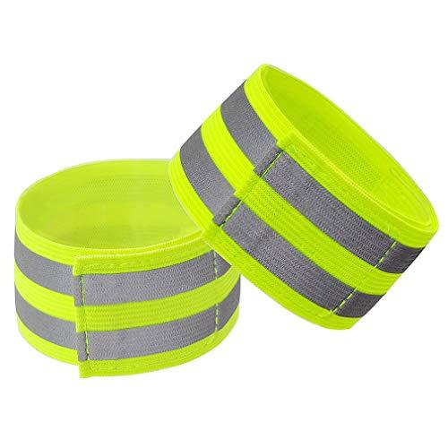 SUNSKYOO Reflektierende Streifen Sicherheitsarmbänder für Arm Knöchel Handgelenk Fahrrad Hose Beinriemen zum Laufen Radfahren Wandern Hund Gehen Joggen, fluoreszierend gelb