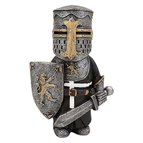 Brteyes Escultura miniatura de armadura de cavaleiros de guarda anões para decoração de jardim de casa