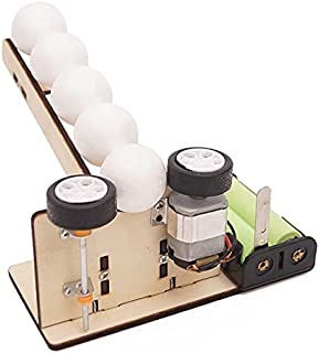 STEM Toy DIY Wooden Handmade Automatic Ball Pitching Machine Experiment Kit for Project build Innovative thinking in chil...