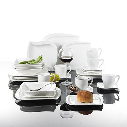 MALACASA, Série Elvira, 60pcs Services de Table Complets Porcelaine, 12 Tasses, 12 Soucoupe, 12 Assiettes à Dessert, 12 Assiettes à Soupe, 12 Assiettes Plates pour 12 Personnes
