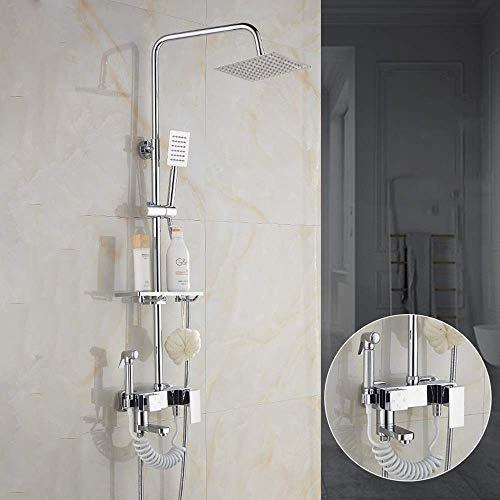 L-WSWS Conjuntos de ducha Con la pistola de pulverización caliente y frío juego de ducha de latón grifo de la ducha de 10 pulgadas superior cuadrada aerosol de la ducha del sistema 4 Modos de plata de