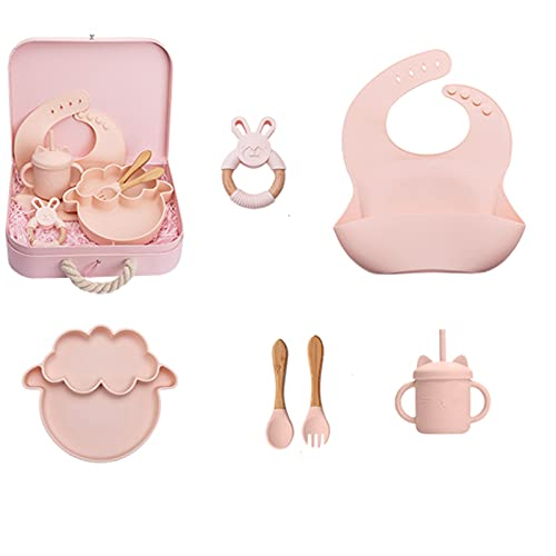 PPuujia Let's make Silicone Bibs Set Hair Band Baby Rattle Bath Brush For Kids Newborn Tableware Bibs For Toddler Woden Toys Baby Gift (Color : Gift b)