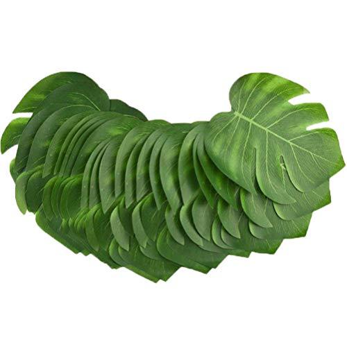 Garneck 48pcs künstliche Tropische Palmblätter mit Stielen für Safari Dekorationen Tropische Partei liefert Jungle Beach Luau Thema Partei Dekorationen