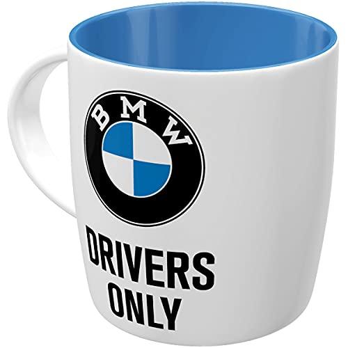 Nostalgic-Art Retro Kaffee-Becher - BMW - Drivers Only, Große Lizenz-Tasse mit BMW-Motiv, Vintage Geschenk-Idee für BMW Zubehör Fans, 330 ml