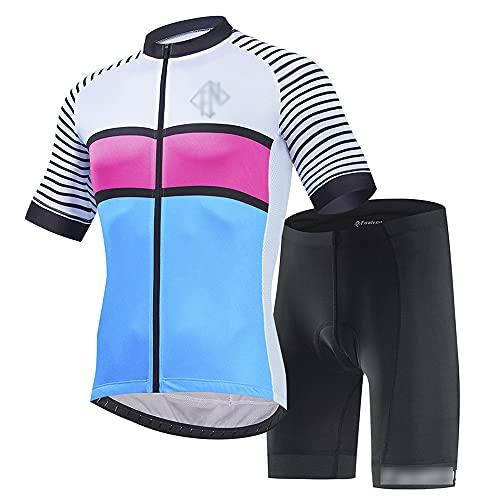 JQKA Traje Ciclismo Hombre para Verano, Ciclismo Maillot y Culotte Ciclismo Culote Bicicleta con 5D Gel Pad para Deportes al Aire Libre Ciclo Bicicleta(Size:X-pequeño,Color:Blanco Azul)