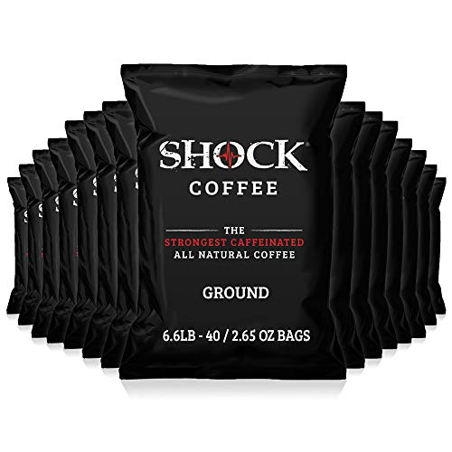 Shock Coffee Ground Stay Fresher Packs. The Strongest Caffeinated All Natural Coffee, Up to 50% more Caffeine than Regular Coffee, 6.6 pounds (40 - 2.65oz bags)