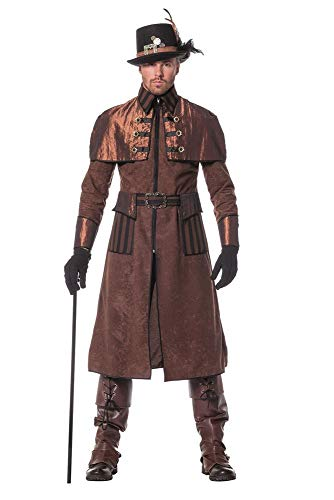 Steampunk Herren Mantel Braun/Schwarz Kostüm Jacke viktorianisch Industrial hochwertig, Größe:56