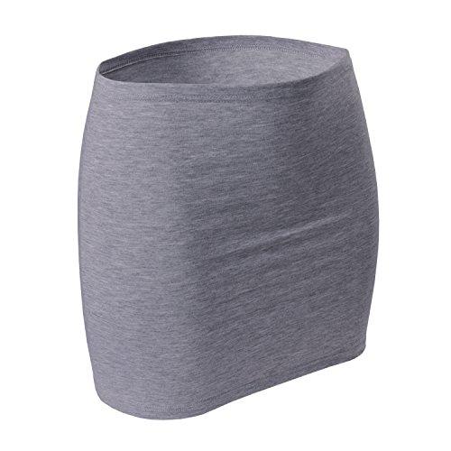 CFLEX Damen Variotube-Nierenwärmer, Shirtverlängerung, Minirock aus Baumwolle - Grey Melange XL-XXL