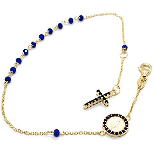 pulsera de Oro Amarillo De 18K 750, rosario, raíces de Zafiro Azul, Cruz, medalla milagrosa, longitud 17.5–19.5cm, Fabricado en Italia