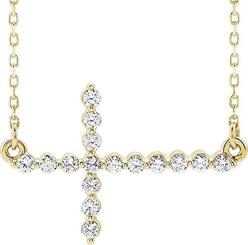 LKLFC Collar Colgante Collar de Cadena Mujer Hombre Collar Collar de Oro Amarillo de 14k con Cruz Lateral y 18 Diamantes Regalo