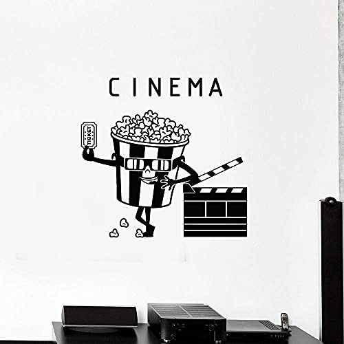 Boleto De Cine Vinilo Pared Calcomanía Casa De Cine Palomitas De Maíz Pegatinas De Filmación Carteles De Decoración Del Hogar Calcomanías De Carteles Creativos Dormitorio 83X80 Cm