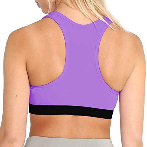 CHKOKKO Women Blended Lightly Padded Non-Wired Sports Bra (AZSPWBRA201PURPLES_Purple_Small)