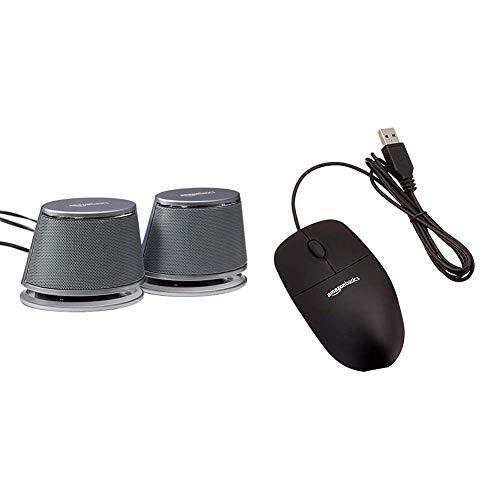 Amazon Basics PC Lautsprecher mit dynamischem Sound USB Betrieb Silber 1 Paar USB Maus mit DREI Schaltflachen schwarz