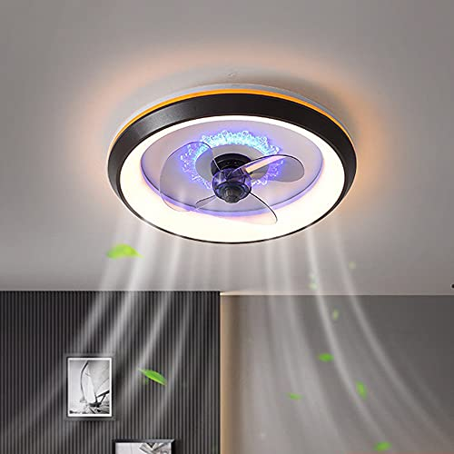 LANMOU Ventilador Techo con Luz y Mando a Distancia, Lámpara de Techo Moderna con Ventilador 3 Velocidades Lámpara Ventilador LED Regulable para Dormitorio Salón Iluminación,Negro
