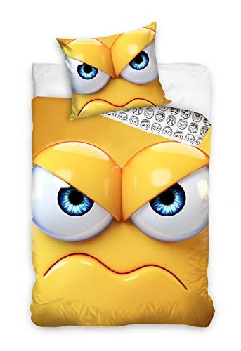 Carbotex Funda nórdica Emoji amarillo 140 x 200 cm