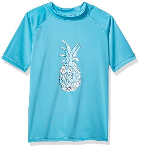 Kanu Surf Girls' Jade UPF 50+ Sun Protective Rashguard Swim Shirt, Willow Aqua, X-Large (14/16)