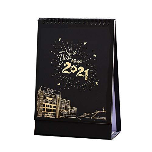Calendario 2021 de Escritorio Chinos Año Nuevo 2021 Planificador Mensual 2021 para el Año Lunar del Buey,16x8x23cm,Patrón Arquitectónico Negro de Dibujos Animados Calendario Anual Sobremesa para El H