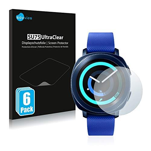 Savvies 6X Schutzfolie kompatibel mit Samsung Gear Sport Bildschirmschutz-Folie Ultra-transparent