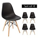 Homy Grigio Dining Chairs DSW Chairs Mid Century Modern Style Chairs Plastic Chairs Wood Assembled Legs, Set of 4 (Black)