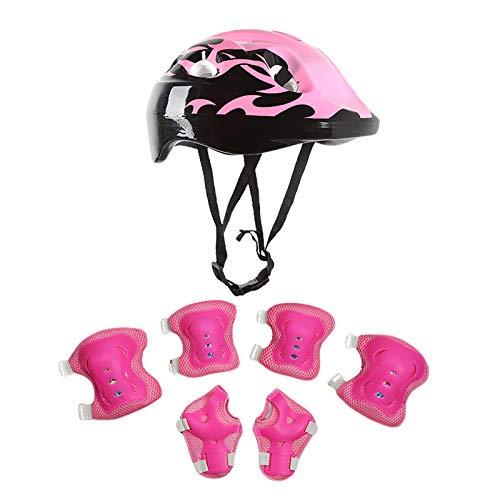 MAWOLY Kinderschutzhelm Knie-Ellbogenschützer Skating-Schutzausrüstung für Kinder Radsport-Skate-Bike-Schutz/7Pcs Set-M04