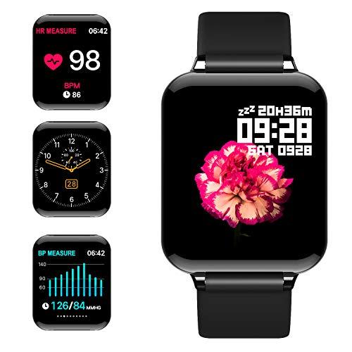 jpantech Smartwatch, Fitness Tracker Voller Touchscreen 5ATM Wasserdicht Smart Watch Intelligente Aktivitäts Uhr Sportuhr, Damen Herren Pulsmesser Schlafmonitor Android iOS(Schwarz)