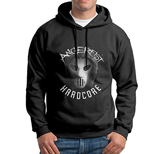 Men's Cotton Pullover Comfortable Hoodie Sweatshirt Print Angerfist Cotton Graphic 1 Hooded Shirts with Pocket,Black,3X-Large