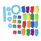 Training Toy デザイン定規 円 幾何学 模様 お絵描き 描画ルーラー テンプレート 図面装飾 (カラフル(ジョイント))