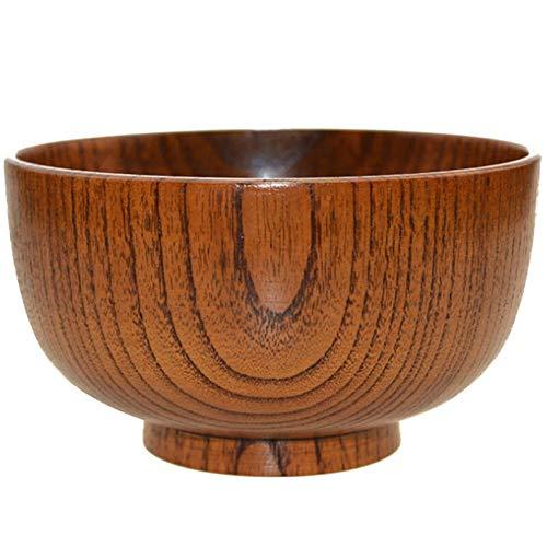 ZH Bol en bois japonais, grain de bois jujube naturel adulte enfant pasta bol à soupe brun 14 * 7.7cm